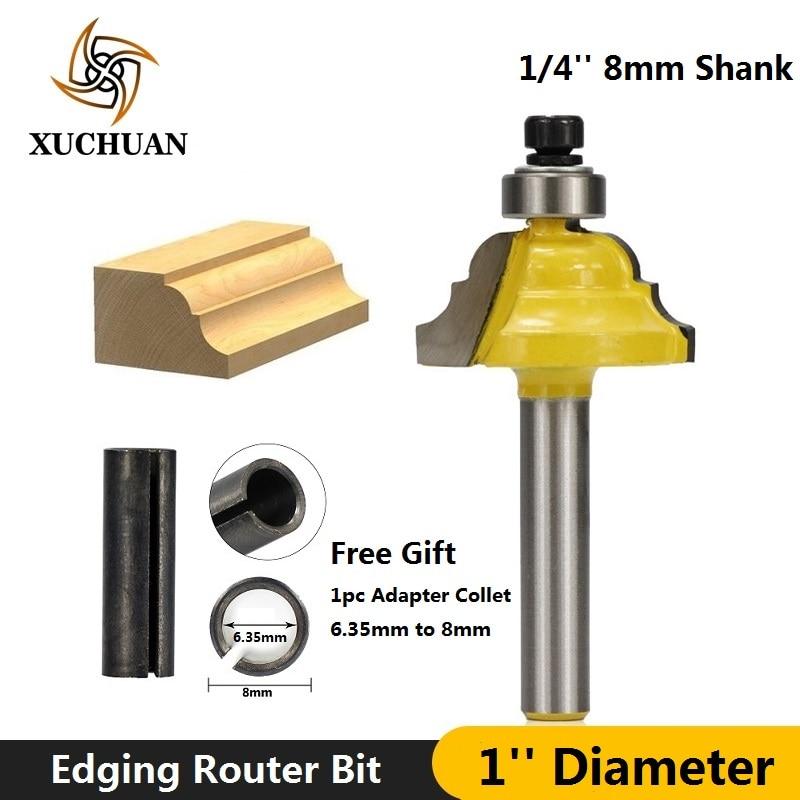 1pc 1/4''(6.35mm) 8mm Shank 1'' Diameter Roman Ogee Edging Router Bit Line Knife Carbide End Mill Wood Milling Cutter