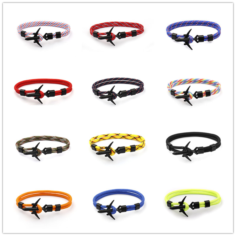 New Airplane Anchor Bracelets Men Charm Chain 550 Umbrella Rope Bracelet Jewelry Male Wrap Survival Aviation Style Sport Hook image