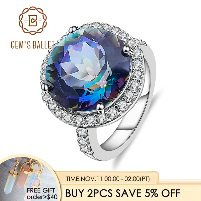 Gems Balle 13.0Ct Natural Blueish Mystic Quartz 925 sterling silver Cocktail Rings Fine Jewelry For Women Wedding Engagement