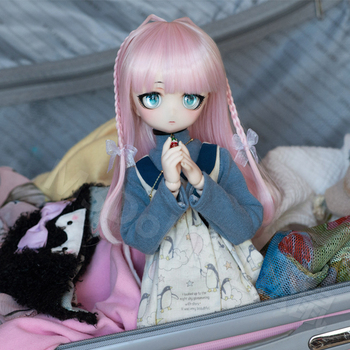 bjd doll  1/3 1/4  1/6 wig long braided dollfacehair wigs  pink girl doll face hair wig 3  4  6points doll wig недорого