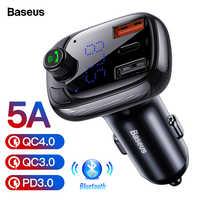 Baseus Quick Charge 4,0 3,0 USB Auto Ladegerät QC QC4.0 Bluetooth FM Transmitter Auto Kit Für iPhone 11 Pro Max 5A Schnelle PD Ladegerät