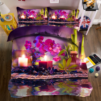 Modern Fashion print Bedding Duvet Cover set Purple Phalaenopsis Roland Flowers Pattern Single/Double Bedding set 3pcs Bed set
