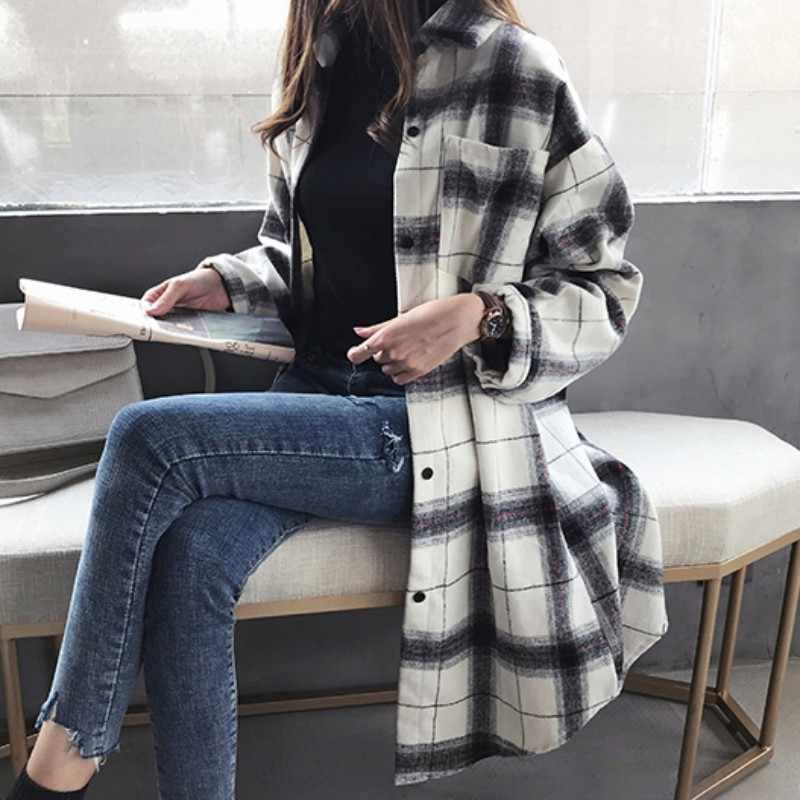 Chemisier à carreaux à manches longues pour femme, ample, à revers Long, à la mode, collection automne Blouses décontractées