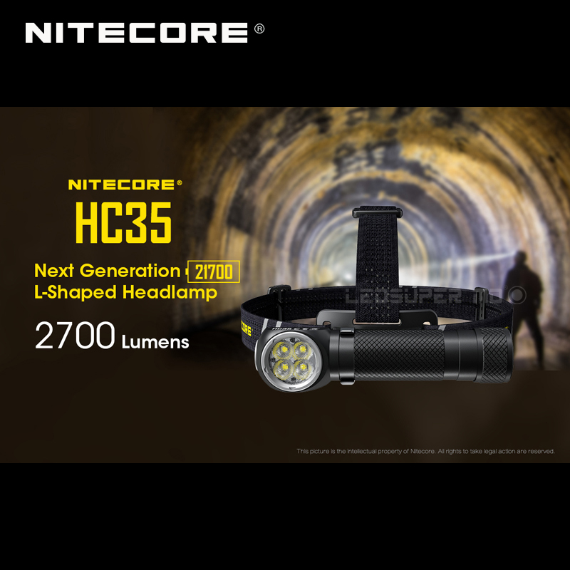 Next Generation Nitecore HC35 4 X CREE XP-G3 S3 LEDs 21700 L-shaped 2700 Lumens Headlamp With 4000mAh Battery