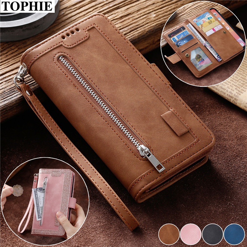Leather Purse Case Etui For <font><b>iPhone</b></font> XR X XS 11 Pro Max SE 2020 6 6S 7 <font><b>8</b></font> Plus Coque Luxury Zipper Wallet Card Holder Poouch Cover image