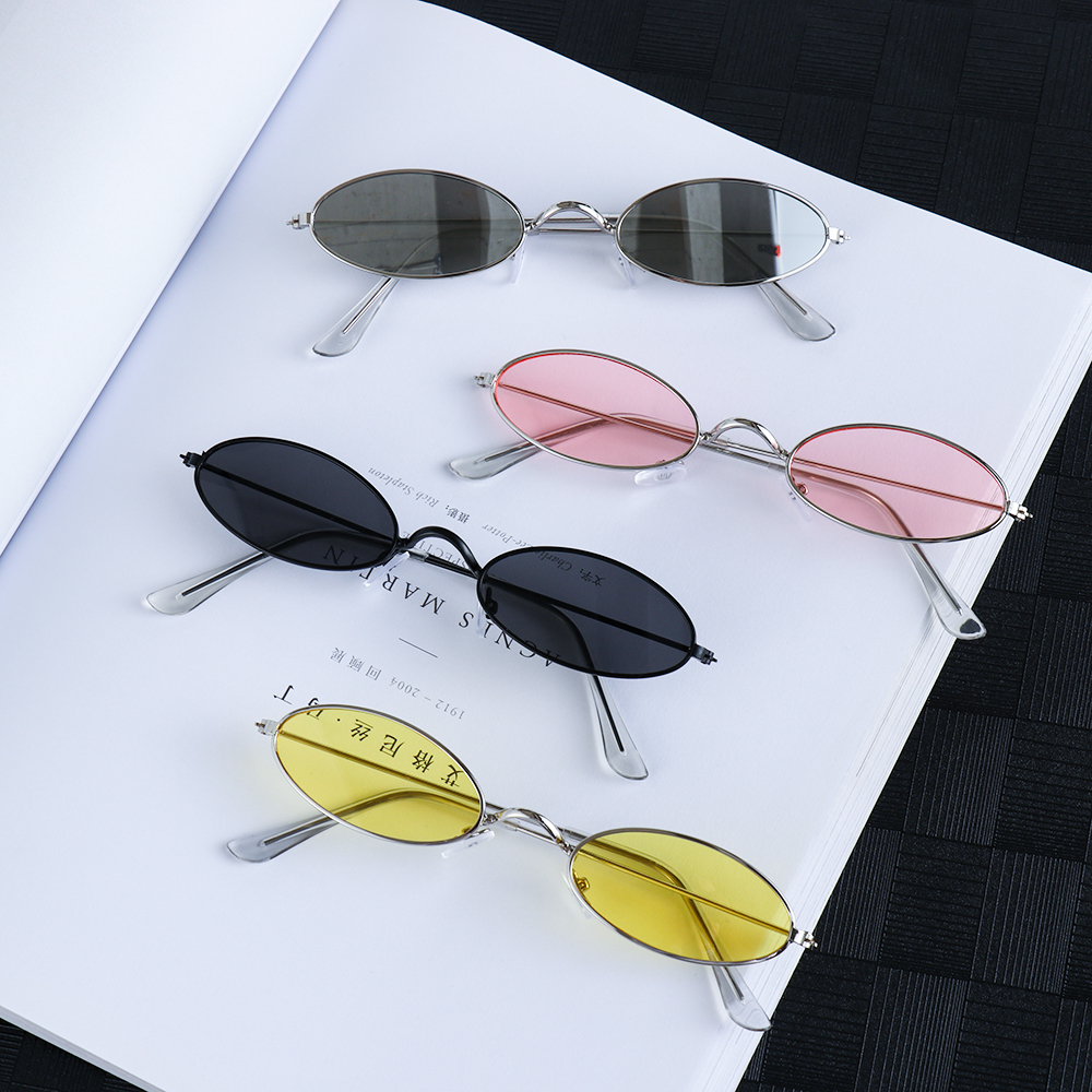 1 pc occhiali da sole ovali piccoli retrò donna Vintage tonalità di marca nero rosso metallo colore occhiali da sole occhiali da vista di Design di moda 1