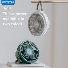 ROCK Desktop Fan 360 Degree Rotation Air Supply 4000mAh Hanging USB Charging Fan Low Noise 4Mode Purifies Air Cooling Fan