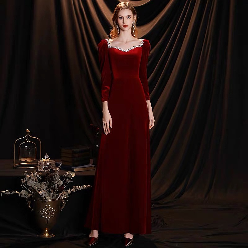 Velvet Burgundy Celebrity Dresses Long Sleeve Square Neck With Diamond Sexy Retro Slim A-Line Prom Evening Gown Formal Party New