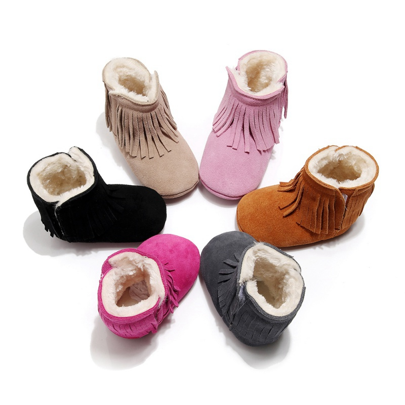 Winter Baby Girl Boy Shoes Cotton Tassel Design Boots Casual Shoes Newborn Cute Non-slip Soft Sole Shoe Black