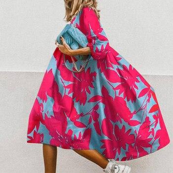 Women Vintage Dress Floral Print Loose 2020 Chic Elegant Half Sleeve Party Casual O-Neck Ladies A-Line Vestido 5XL Female Dress 2019 spring new women half sleeve loose flavour black dress long summer vestido korean fashion outfit o neck big sale costume