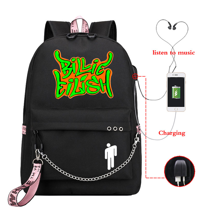 Mochila Backpack Women Billie Eilish School Bags For Teenage Girls Usb Charge Bookbag Pink Backpack Female Laptop Travel Bagpack