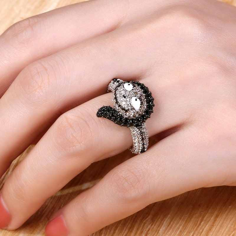 Cristales negros Sally Jack calavera anillo pesadilla antes de Navidad joyería de plata simplemente destinado a ser anillos para mujeres Halloween regalo