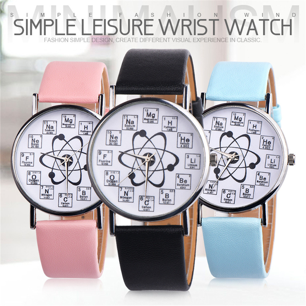 Simple Fashion Chemical Element Ladies Watch Creativity Wrist Watches Leather Quarzt Watches Relogio 2019 Q
