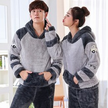 Couples Thick Warm Flannel Hooded Cute Cartoon Pajama Sets f