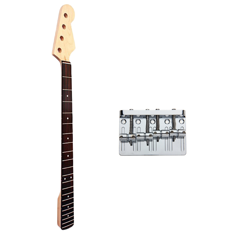 1 Pcs Bp Bass Guitar Neck Maple For Fd 4 String 21 Fret Right Hand Maple Rosewood Guitar Accessory & 1 Pcs 4 String Hardtail Bri