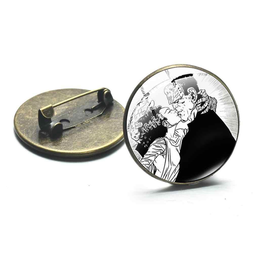 シャンフランケンシュタイン文字ストーンブロンズメッキブローチフランケンシュタインと彼の花嫁シリーズガラスストーンクリスタルメタルブローチバックパックバッジ