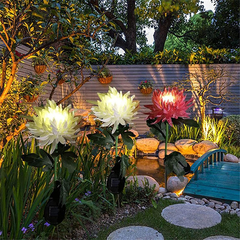 crisantemo led luz solar plug in jardim paisagem 04