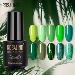 ROSALIND Forest Green Color Series Nail Gel For Nails Art Design Semi Permanent Hybrid Varnishes Base Top Primer Gel Polish