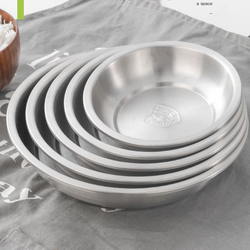 304 Stainless Steel Dinner Plates Kitchen Restaurant Tray Round Dessert Cake Snack Dishes Food Storage Plate Korean Tableware