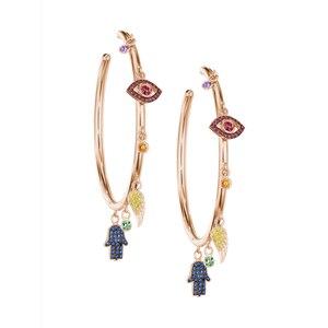 Image 5 - Colorato cz pavimentato di lucky charms orecchino ad anello dellocchio diabolico ala della mano di hamsa splendida stunning europeo delle donne degli orecchini