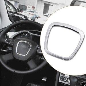 Chrome kierownicy centrum znaczek z symbolem ramki zamiennik dla Audi A3 8P S3 A4 B6 B7 B8 A5 A6 C6 Q7 Q5 obudowa przyklejana nowy