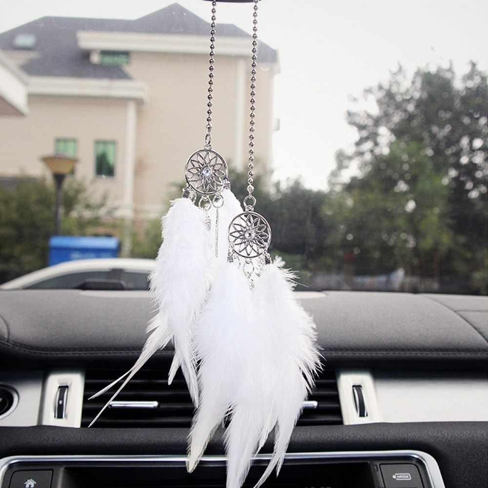 Mobil Liontin Aksesoris Tenunan Tangan Liontin Bulu Dream Catcher Dekorasi Interior Liontin Rumah Bulu Hiasan Dinding