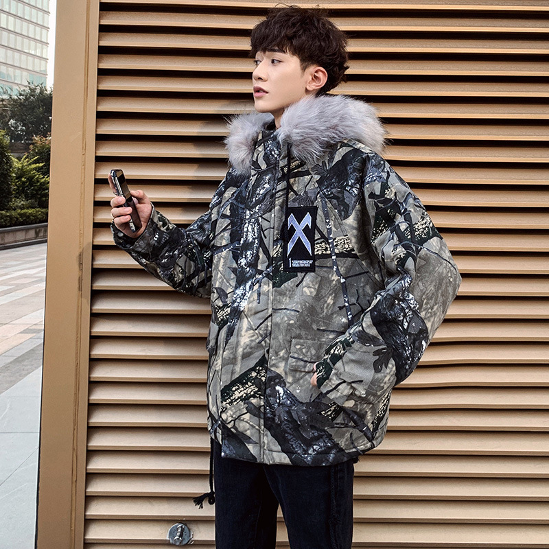 Hong Kong Style CHIC Thick Fur Collar Cotton-padded Clothes Men's Popular Brand Loose-Fit Versatile Casual Coat INS Network Hand
