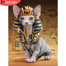 HUACAN diamant broderie animaux diamant mosaïque affichage complet Sphinx chat diamant peinture avec pierres carrées décoration murale