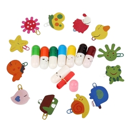 12Pcs Colorful Shapes Kids Children Cartoon Clip Bookmarks Beautiful & 50Pcs Colorful Smile Facial Expression Capsule Pill with