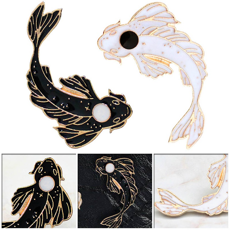 Lucu Ikan Mas Ikan Mas Enamel Pin Pink Putih Hitam Bros Denim Kerah Ikan Lencana Yin Yang Koi Pin Hadiah Kepribadian Perhiasan Bros Aliexpress