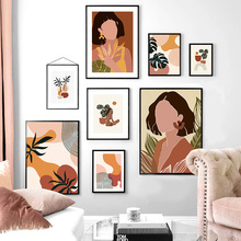 Chica abstracta Monstera minimalista vintage carteles nórdicos e impresiones cuadro sobre lienzo para pared fotos para decoración para sala de estar