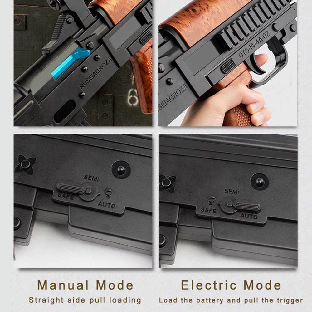Armas de brinquedo de plástico, arma de groza, rifle elétrico, blaster, bola de gel de água 7-8mm, balas de água, tiro brinquedos para meninos