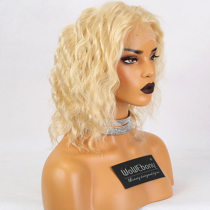613 Blonde Lace Front Wig Deep Body Wave Ombre Human Hair Wig Brazilian Remy Pre Plucked 13x4 Transparent Lace Wigs 150% Density image