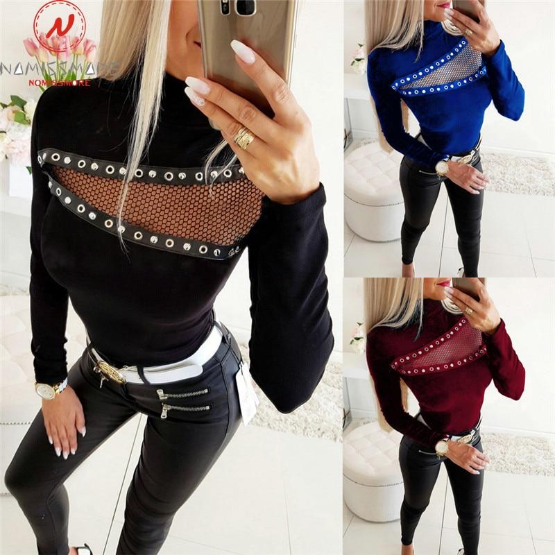 Elegant Lady Sweaters Corn Eye Patchwork Design Lace Decor See Through High Collar Long Sleeve Solid Slim Streetwear Shirts