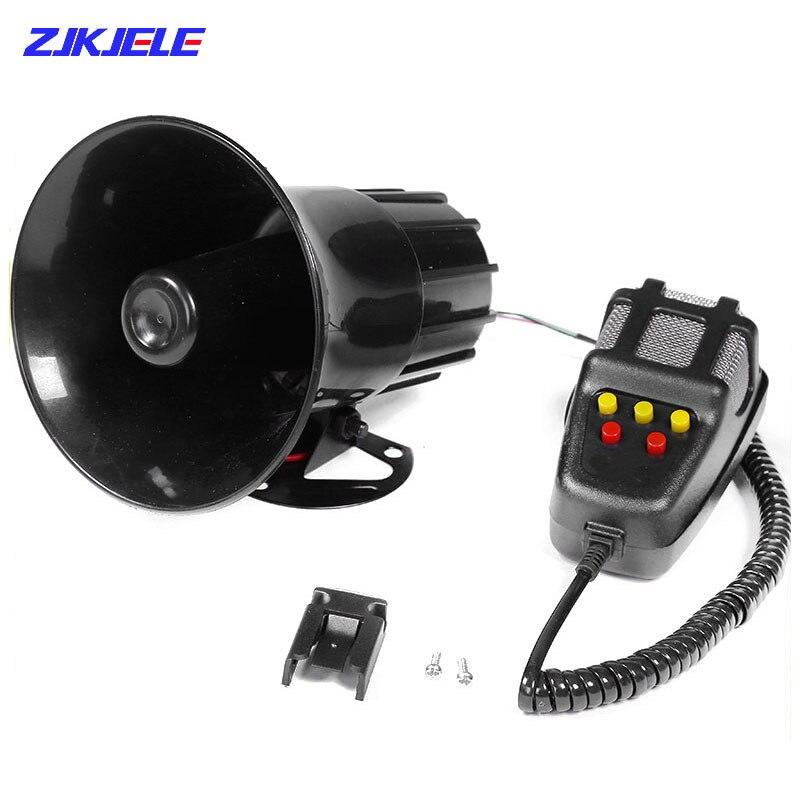 5-Sound Loud Car Warning Alarm Police Fire Siren Horn Air Bugle Speaker System Emergency Amplifier Hooter Megaphone Truck Horn