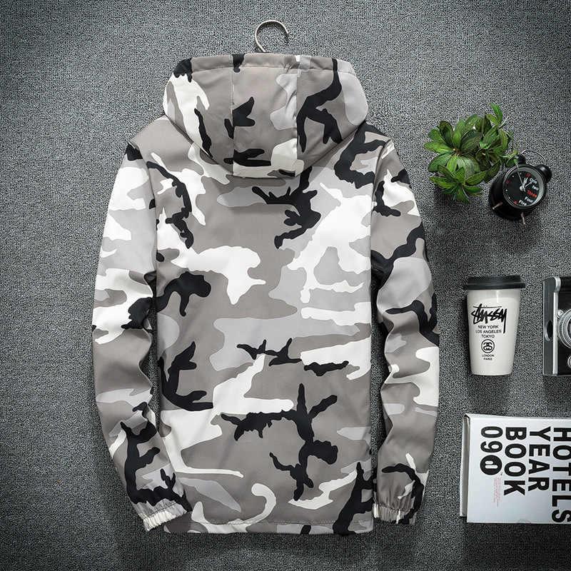 Boolili 봄 가을 남성 후드 자켓 위장 군사 코트 캐주얼 지퍼 남성용 윈드 브레이커 남성 브랜드 의류
