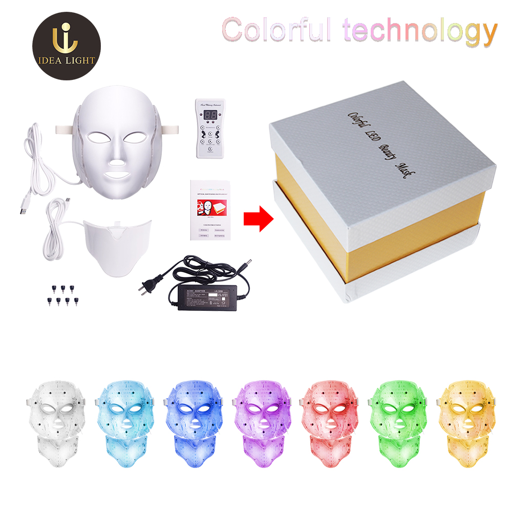 7 Colors Led Facial Mask Therapy TL50 Face Mask Machine Light Therapy Acne Mask Neck Beauty Led Light Therapy