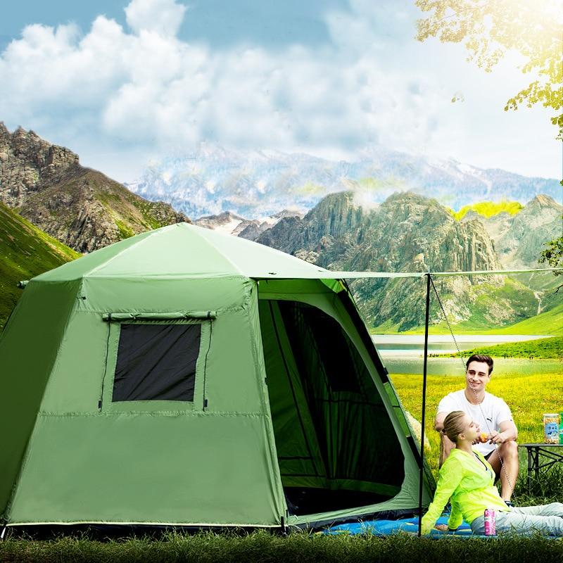 Автоматическая двухслойная водонепроницаемая ветрозащитная Ультралегкая семейная и вечерние палатки для кемпинга с юбкой для снежной пог...