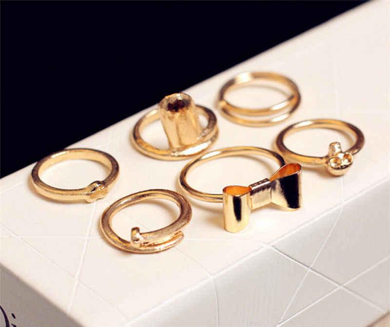 7 шт./1 набор, новые модные кольца на фаланг пальца, золото, модный Череп, бант, сердце, женский набор колец, Женские Ювелирные изделия