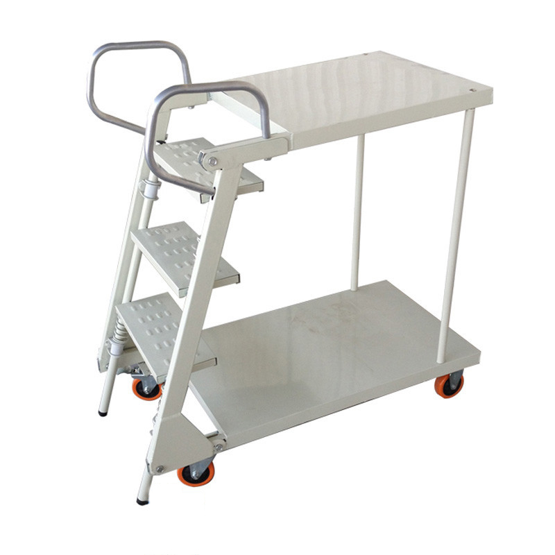 Upgraded Version Of Collapsible Steel Supermarket Warehouse Security Folding Ladder Anti Slip Safety Aluminum Ladder