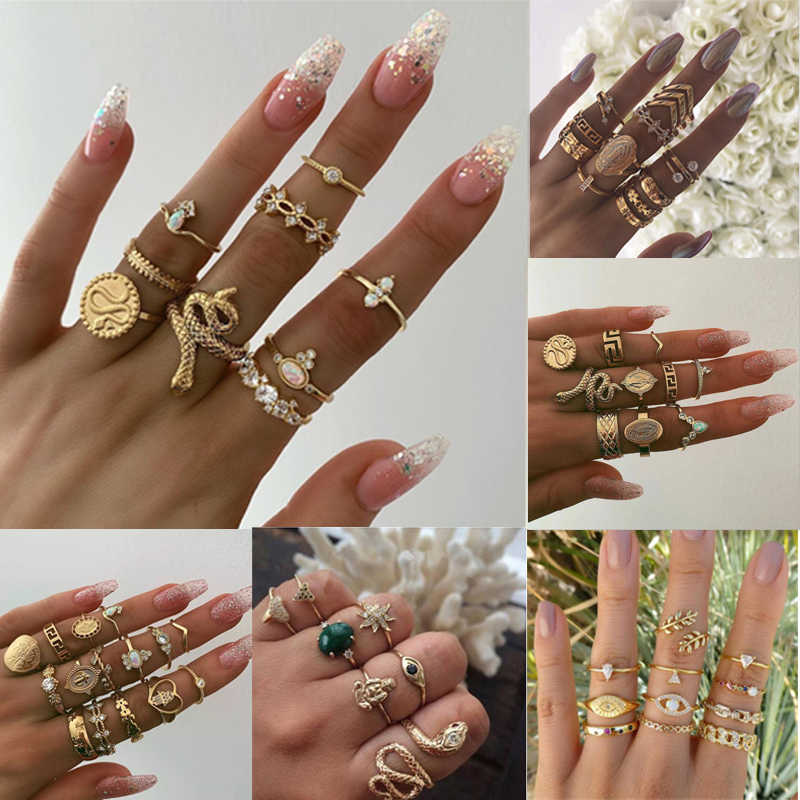 20Style Bohemian Snake Rings Set for Women Vintage Buddha statue zodiac lotus Charm Joint Ring Wedding Jewelry pierscionki