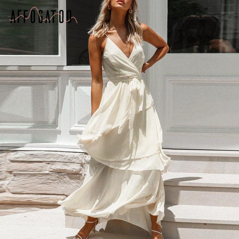 Affogatoo Sexy V-neck Sleeveless Women Strap Party Dress Elegant Ruffle Solid High Waist Summer Dress Streetwear Sash Maxi Dress