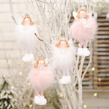 2021 Christmas Angel Doll Toy Pink Standing Plush Doll Christmas Tree Pendant Ornaments Xmas Kids New Year Gift Table Decoration christmas decoration old man snowman elk christmas gift small pendant plush doll christmas tree pendant decoration