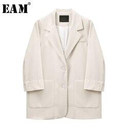 [EAM] Frauen Apricot Kurze Große Größe Blazer Neue Revers Lange Hülse Lose Fit Jacke Mode Flut Frühling Herbst 2020 1X146