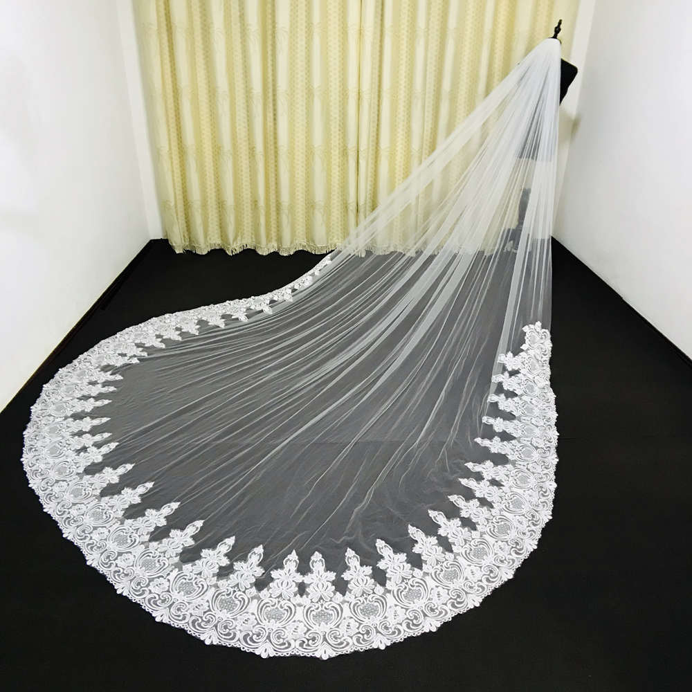 Real Photos 3.5M Wedding Veils Lace Applique Edge Long Cathedral Length Veils One Layer Tulle Custom Made Bridal Veil With Comb