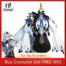 Rolecos genshin impacto eula cosplay uniforme traje cosplay traje feminino festa de halloween outfit jogo terno adorável macacões