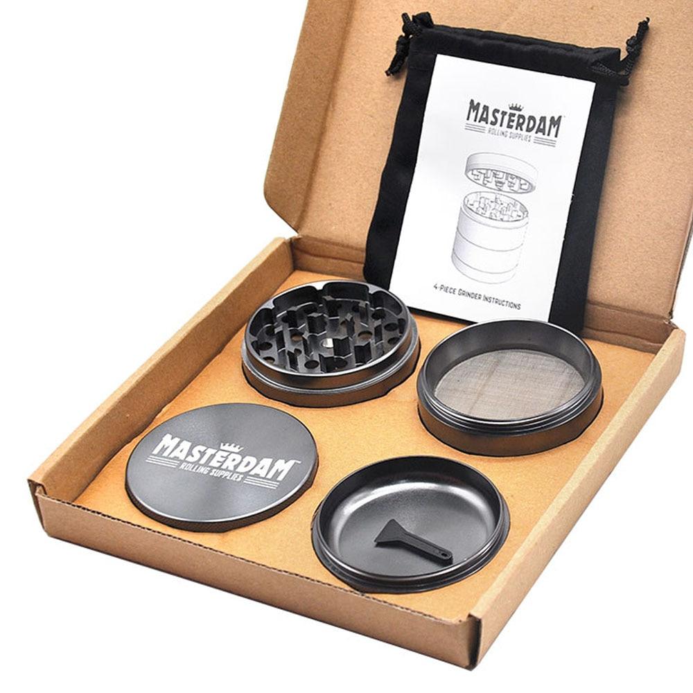 Masterdam Rolling Supplies 2.5-Inch Herb Tobacco Grinder with Pollen Catcher 4 Piece Aluminum Metal Smoking Grinders Accessories