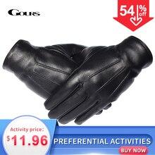GOURS חורף כפפות גברים אמיתי עור כפפות מגע מסך שחור אמיתי כבש צמר בטנה חם נהיגה כפפות חדש GSM050