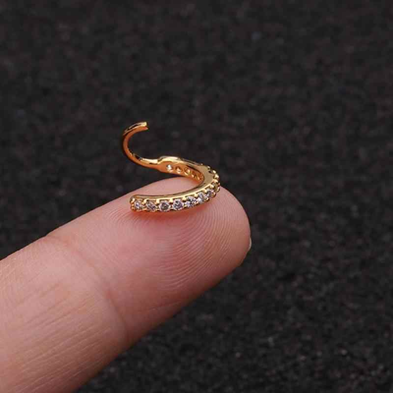 Rhinestone Cartilage Earrings Side Inlaid Zircon Nose Ring Girls