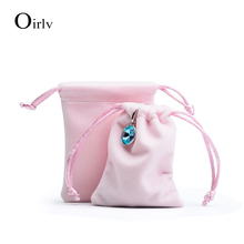 Oirlv 10 PCS/LOT jewellery packing bags with silk ribbon for shop favors velvet gift pouches jewelry packaging